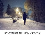 snowfall in the city park.... | Shutterstock . vector #547019749