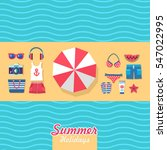 summer holidays on beach vector ... | Shutterstock .eps vector #547022995