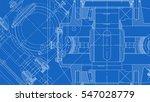 mechanical engineering drawing. ... | Shutterstock .eps vector #547028779