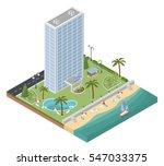 flat 3d isometric resort hotel  ... | Shutterstock .eps vector #547033375