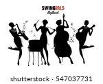 women orchestra. big band girls.... | Shutterstock .eps vector #547037731