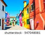 colorful houses in burano... | Shutterstock . vector #547048081