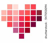pixel heart in shades of red ... | Shutterstock .eps vector #547053094