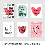set of cute creative card with... | Shutterstock .eps vector #547055761
