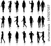black silhouettes of beautiful... | Shutterstock . vector #547057357