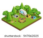 Hiking Isometric Composition...