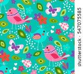 Cute Birds Seamless Pattern...