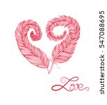 feather heart love sketch... | Shutterstock .eps vector #547088695