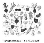doodle fruits and vegetables.... | Shutterstock .eps vector #547106425