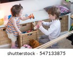 Brother Sister Playing Nursery - Fine Art prints