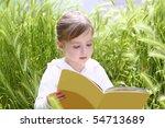 little blond girl reading book... | Shutterstock . vector #54713689