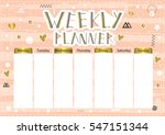 weekly planner. cute page for... | Shutterstock .eps vector #547151344
