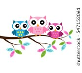owl mom and two owl babies ... | Shutterstock .eps vector #547152061