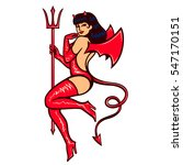 sexy vintage pinup she devil... | Shutterstock .eps vector #547170151