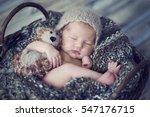newborn baby sleeps on woolen... | Shutterstock . vector #547176715