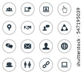 set of 16 simple internet icons.... | Shutterstock .eps vector #547195039