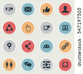 set of 16 simple social icons.... | Shutterstock .eps vector #547197505