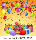 happy birthday cake  balloon ...