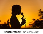 Silhouette Of Woman Smelling A...