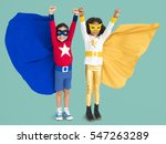 superhero kids hands up flying... | Shutterstock . vector #547263289