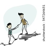 couple man hiking help each... | Shutterstock .eps vector #547264651