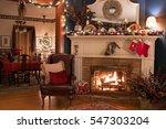 Cozy Christmas Fireplace Setting