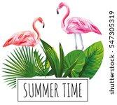 Slogan Summer Time Tropical...