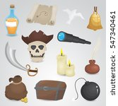 pirate icon set on neutral... | Shutterstock .eps vector #547340461
