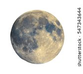 Small photo of Full moon seen with an astronomical telescope, with enhanced colours to show the real colours of terrain surface - isolated over white background, with craters and mountains visible on the border