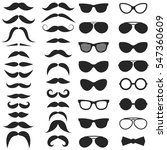set of hipster mustache and... | Shutterstock .eps vector #547360609