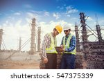 engineer and foreman working at ... | Shutterstock . vector #547375339