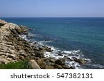 Ocean view from Asian fishing village China Thai southeast rural suburb