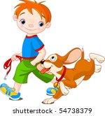 Illustration Of Cute Boy Walk...