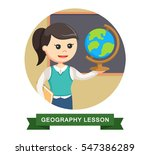 geography teacher in circle