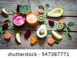 fresh detox juices   Shutterstock . vector #547387771