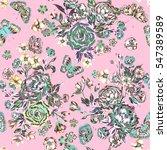 seamless artistic gentle floral ... | Shutterstock . vector #547389589
