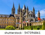 High dynamic range (HDR) City hall and cathedral in Caen in France