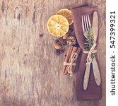 winter holiday dinner plate... | Shutterstock . vector #547399321