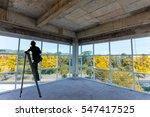 worker install windows and... | Shutterstock . vector #547417525