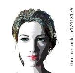cartoon style woman's face a... | Shutterstock . vector #547418179