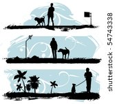 Stock vector a man walking his dog 54743338