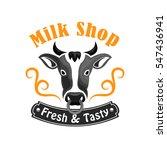 milk shop icon of cow head.... | Shutterstock .eps vector #547436941