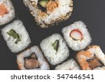 sushi close up on black surface | Shutterstock . vector #547446541