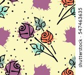 Vector seamless floral pattern with flowers, leaves, decorative elements, splash, blots, drop Hand drawn contour lines and strokes Doodle sketch style, graphic vector drawing illustration.
