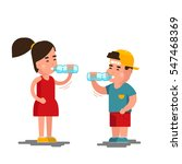 Little boy and girl drinks water vector illustration. Kids drinking clean water isolated on white background. Children drink clean water from plastic bottle | Shutterstock vector #547468369