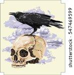 raven on human skull  ... | Shutterstock .eps vector #547469599