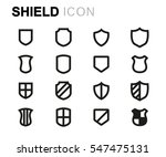 vector line shield icons set on ... | Shutterstock .eps vector #547475131