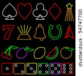 set of colorful gambling icons... | Shutterstock .eps vector #54747700