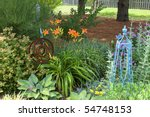 Garden With Orange Day Lilies...