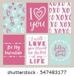 Stock vector vector set of valentines day greeting poster cute blue rose colors for your invitation design 547483177